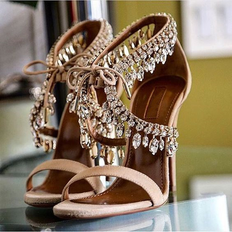 Choudory New Style Rhinestone Gladiator Sandals Women Suede Strappy High Heels Shoes Woman Lace Up Fashion Pumps Zapatos Mujer handmade fashion ladies high heels suede gladiator sandals rhinestone wedding dress shoe women pumps sandalias mujer shoes woman