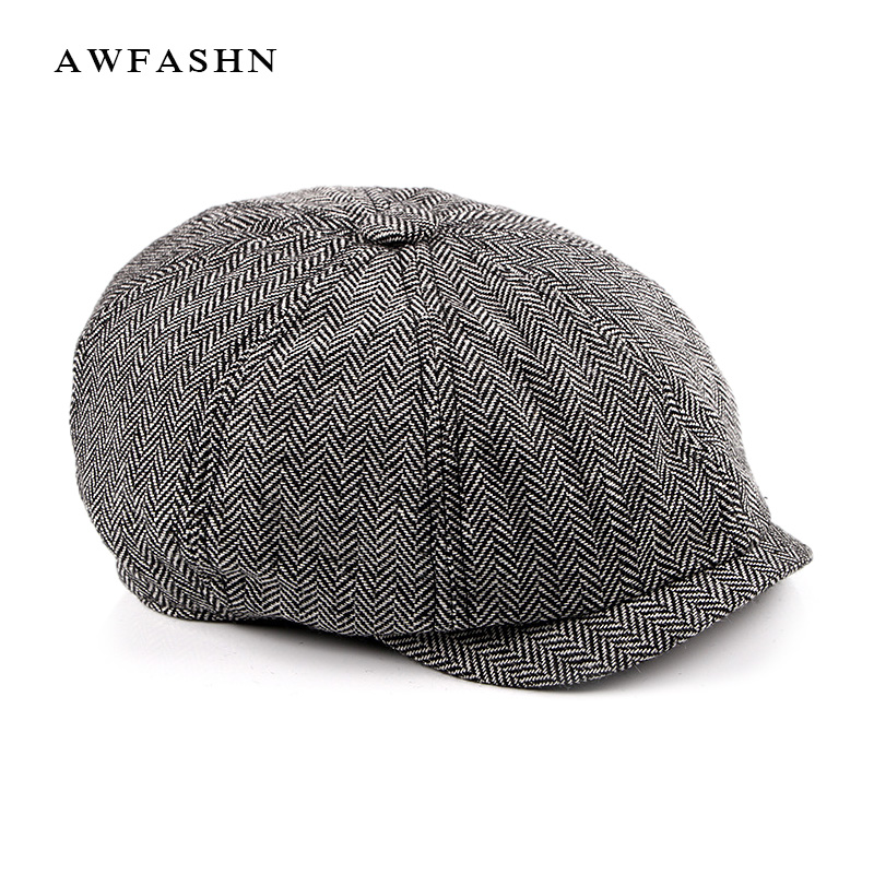 New Tweed Gatsby Newsboy Cap Men spring