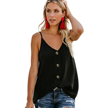 New Women Vest-style T-shirt Female V-neck Single-breasted Sleeveless Halter Sling Top Vest Tee Casual Beach