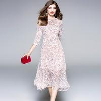 Alta calidad del cordón de la gasa vestido de una línea 2018 nueva marca runway mujeres sprint summer dress fashion office lady vestido bohemio