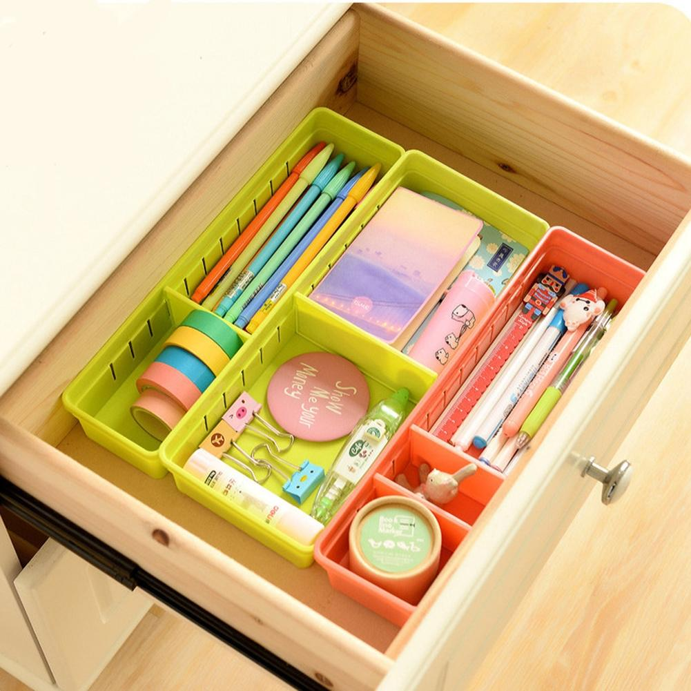 LanLan Plastic Adjustable Drawer Organizer Home Kitchen Board Divider Makeup Storage Boxes