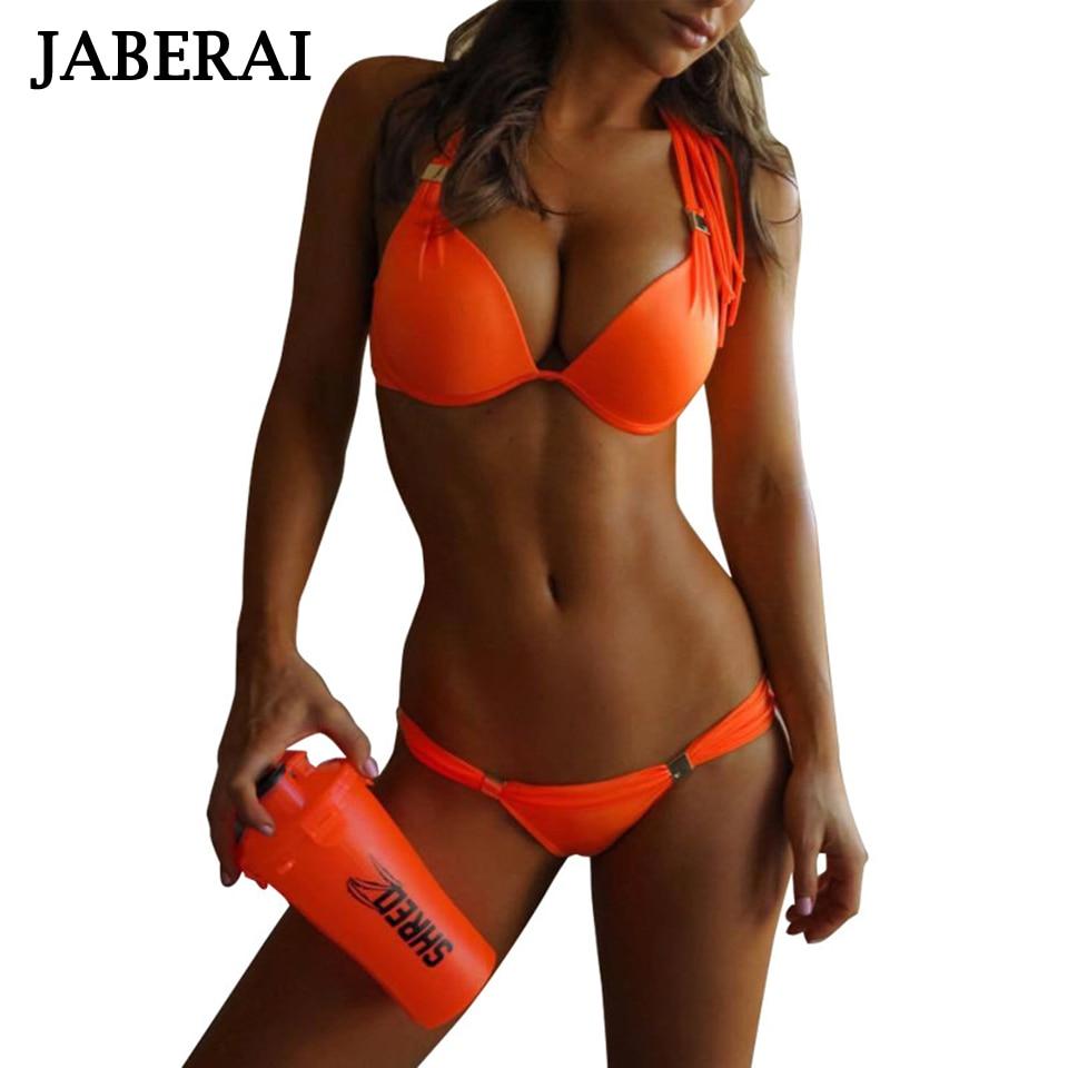 JABERAI solide Bikini 2019 Push Up brésilien Bikini ensemble néon maillots de bain maillot de bain femme biquini maillots de bain femmes maillot de bain