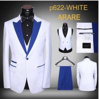 2018 Сделанные на заказ белый мужской костюм Slim Fit Куртка жениха 3 предмета Нарядные Костюмы для свадьбы для Для мужчин для выпускного Костюмы