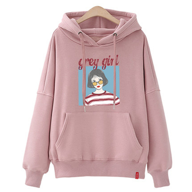 3ac38c58078 2018 Spring Autumn Casual Character Print Hoodies Women Plus Size Loose  Sweatshirt Girls Harajuku Hooded Pullover Female Z677