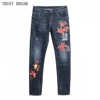 Canada Designed Man Slim Print Slim Jeans Men Skinny Drawing Maple Leaf Denim Pants Male Street Wear High Quatliy Trousers