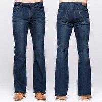GRG Mens Boot Cut Jeans Classic Stretch Denim Deep Blue Slightly Flared Pants Slim Fit Fashion