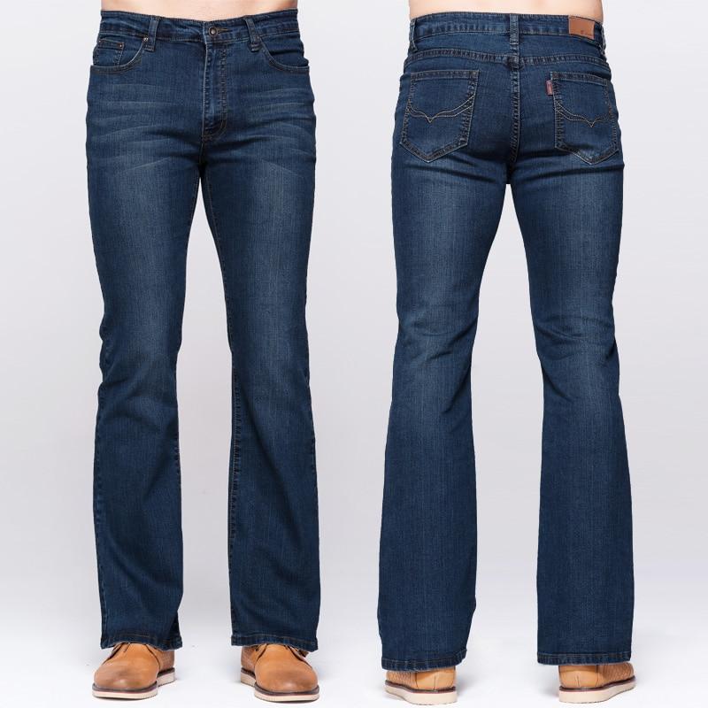 GRG Mens Boot Cut Jeans Classic Stretch Denim Deep Blue Slightly Flared Pants Slim Fit Fashion Trousers