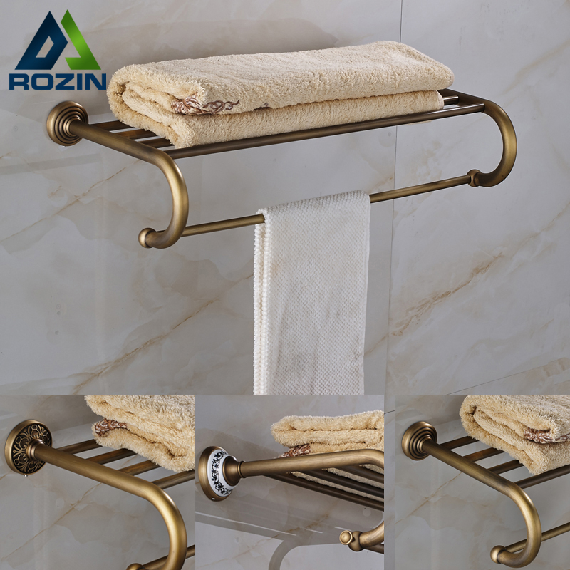 3 Styles Retro Towel Shelf Antique Brass Bathroom Accessories Wall Mounted Vintage Quality Towel Holders whole brass blackend antique ceramic bath towel rack bathroom towel shelf bathroom towel holder antique black double towel shelf