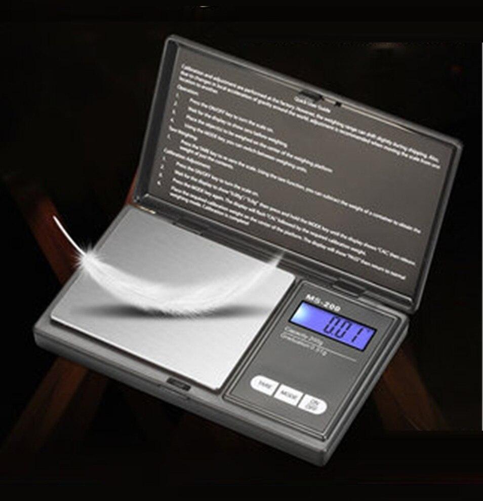Высокоточные цифровые кухонные весы 200 г, 500 г x 0,01 г, ювелирные весы для золота, электронные карманные весы с ЖК-дисплеем
