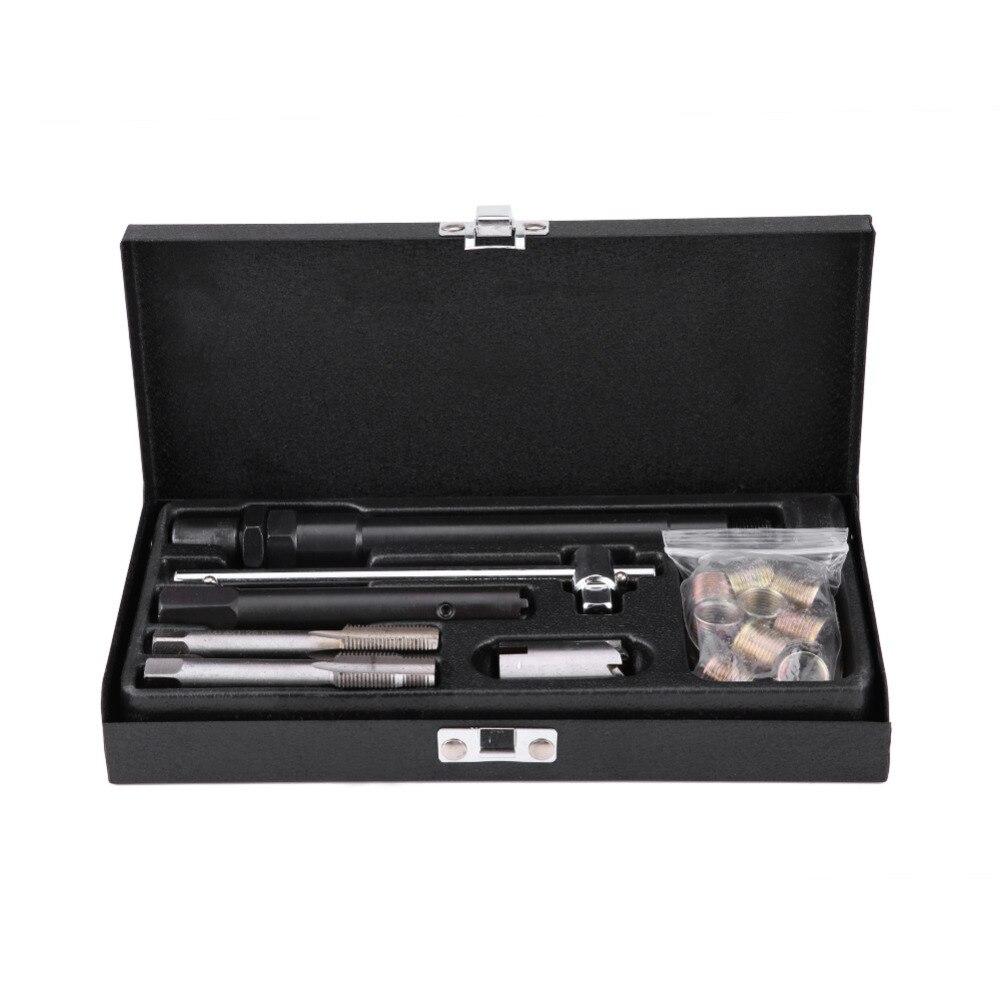 Professional 25 Pcs Car Spark Plug M14*1.25 Tap Screw Thread Tools Repair Kit With Case High Speed Steel Car Spark Plug Tool NEW