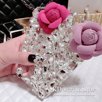 3D Flower Bling Luxury Rhinestone Gem Crystal Diamond Clear Cover For IPhone 6 6S 6S Plus