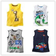 1-6Y Children's T shirt boys' t-shirt Baby Clothing Little boy Summer tanks vest Tees Cotton truck dinosaur lion turtle