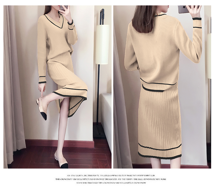 Autumn Winter Knitted Two Piece Sets Outfits Women V-neck Sweater And Skirt Suits Tracksuits Elegant Casual Fashion 2 Piece Sets 79