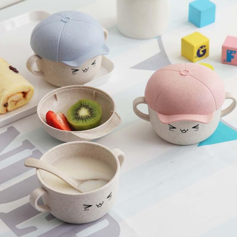 Food Tableware Cartoon Panda Dinnerware Set Anti-hot Training Bowl Spoon Kids Baby