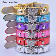 LDC012  Chihuahua Dog Leather Collar Rhinestones Heart For Animals Lovers