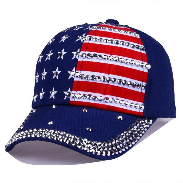 12b6461e296ceb Bling Rhinestone Stripe Stars American Flag Baseball Cap Snap Back Hats for  Men Women,Navy