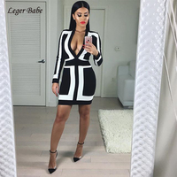Leger Babe Long Sleeve Casual Bandage Dress Women Cocktail Party Dress Deep V Neck Bodycon Womens Vestido White&Black Patchwork