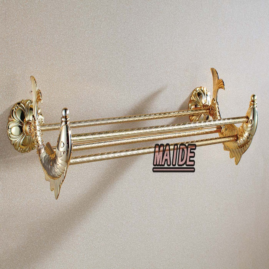Double Gold-plated  Art Wall Mounted Bathroom Brass Towel Rail Holder Storage Rack Shelf Bar art zerkalo зеркало kingsley gold