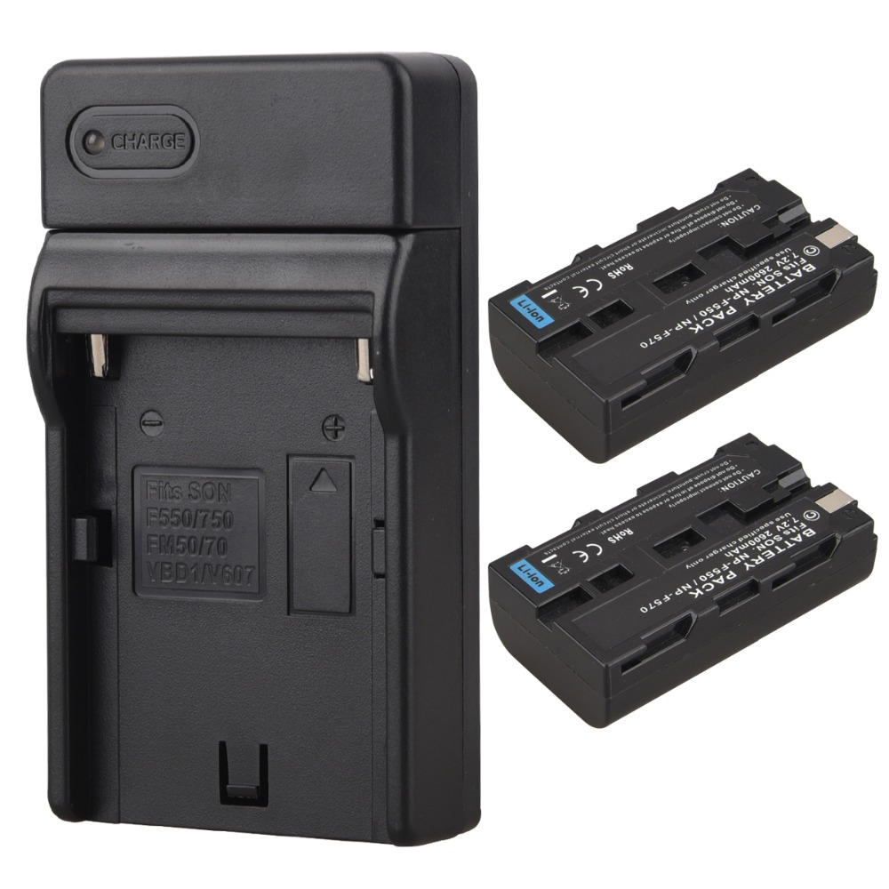 2Pcs 7.2V 2600mah NP F550 NP F570 Rechargeable Digital Camera Batteria Pack with Charger For Sony NP-F550 NP-F570 Battery np f960 f970 6600mah battery for np f930 f950 f330 f550 f570 f750 f770 sony camera