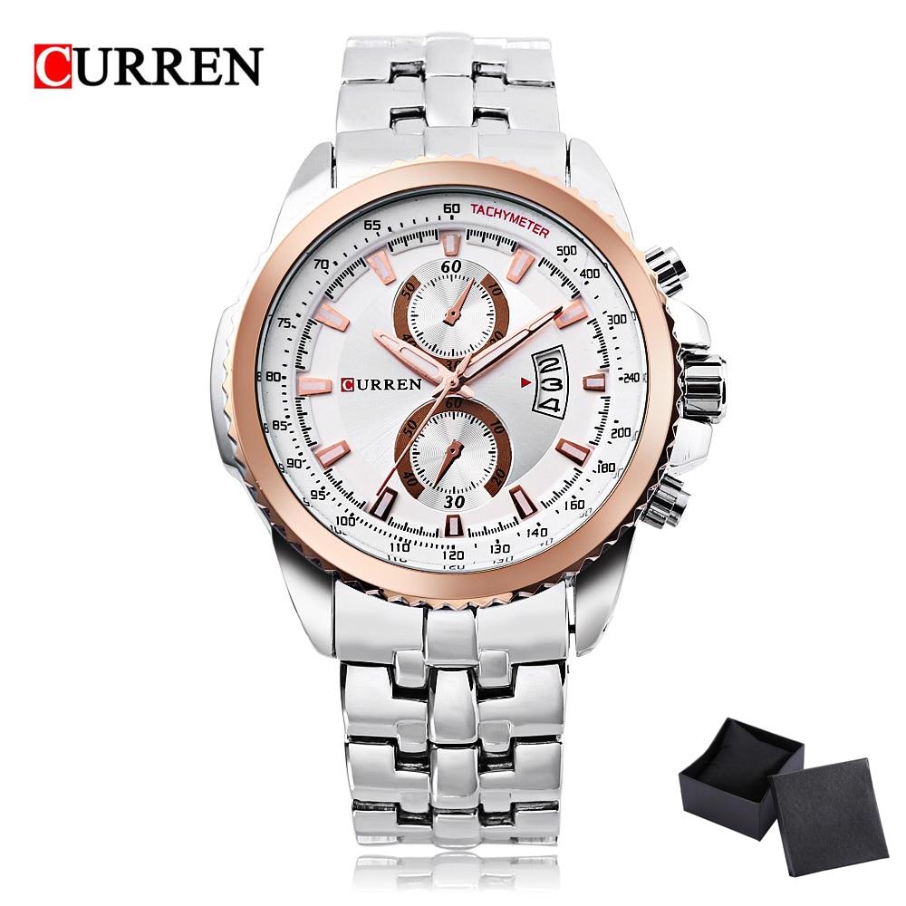 где купить 2017 Curren Simple Fashion Business Men Watch Quartz Watches Full Stainless Steel Calendar Waterproof Relogio Masculino 8082 по лучшей цене