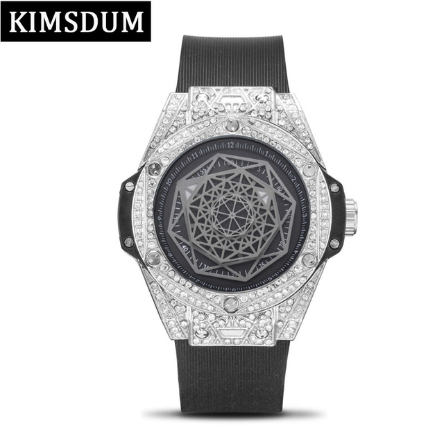 fe7618f2c53 KIMSDUM Mens Watches Top Brand Luxury Design Diamond Watch for Men Iced Out  Watch AAA Waterproof Leather Quartz Wristwatch