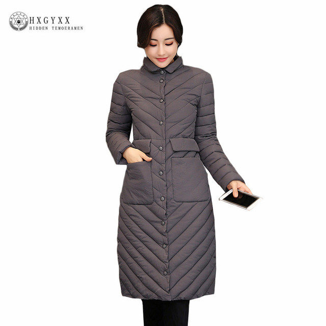 613dfa189 US $33.15 49% OFF|Winter Long Puffer Jacket Women Winter Quilted Coat 2019  New Slim Plus Size Warm Military Parka Female Down Cotton Outerwear O4-in  ...