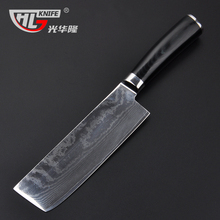 Japanese style cleaver nakiri damascus kitchen knives 7 inch chopper 63 layers kitchen knife sharp damascus steel knives