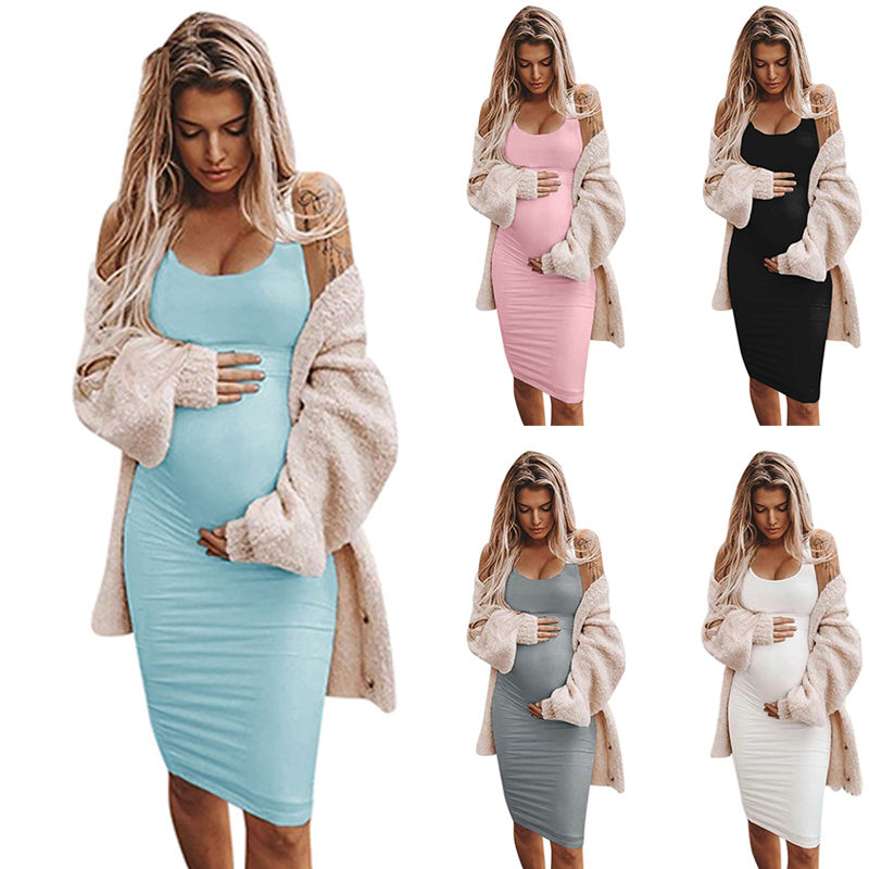 CALOFE Sexy Women Torridity Fashion Dress Clothes Women Sleeveless Pregnancy Maternity Dress Solid Sexy Vest Dress Plug Size(China)