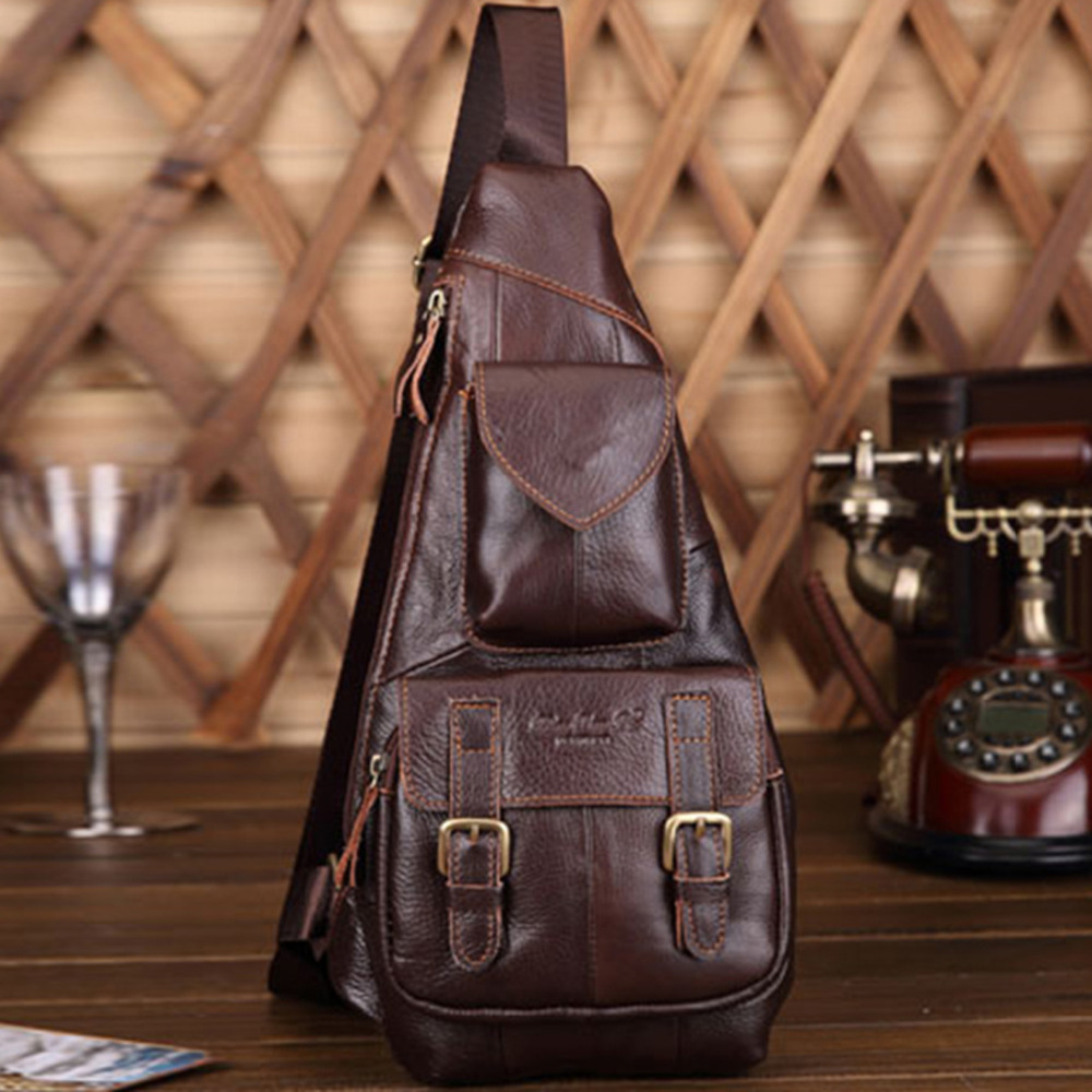 High Quality Genuine Leather Men Chest Shoulder Cross Body Bag Retro Real Cowhide Daypack Triangle Single Rucksack BackpackHigh Quality Genuine Leather Men Chest Shoulder Cross Body Bag Retro Real Cowhide Daypack Triangle Single Rucksack Backpack
