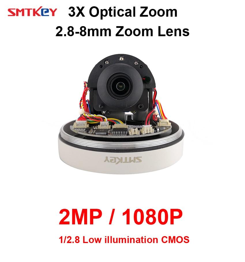 auto focus Mini SMTKEY outdoor waterproof 3X 2.8-8mm PTZ Dome Camera 2MP 1080P CCTV IP Cameraauto focus Mini SMTKEY outdoor waterproof 3X 2.8-8mm PTZ Dome Camera 2MP 1080P CCTV IP Camera