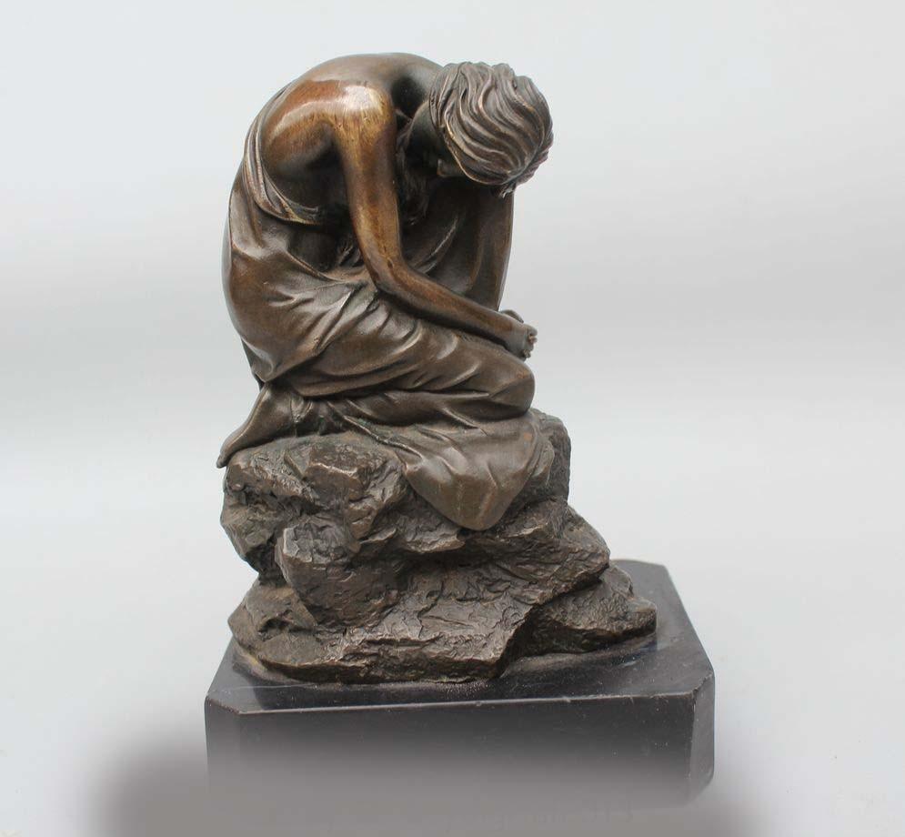 """7"""" Western Art Bronze Marble Meditation Sexy Woman Belle Girl Statue Sculpture sculpture girl sculpture woman sculpture statue - title="""