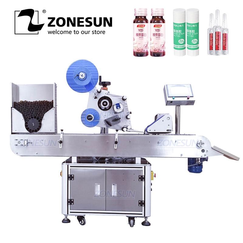 ZONESUN XL-T823 Automatic Round Medicine Bottle Pen Vial Smoke Oil Cigarette Bottle Adhesive Sticker Packing Labeling Machine