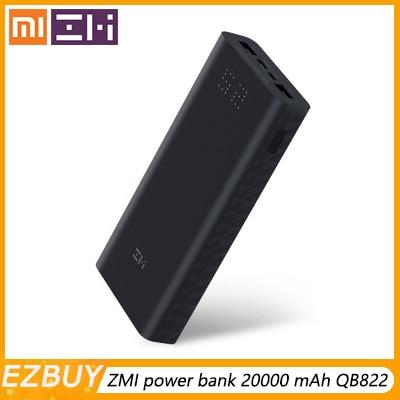 Xiaomi powerbank Z Xiao mi mi banco do poder 20000 mAh carga rápida QC3.0 QB822 para iPhone carregador de bateria 20000mah