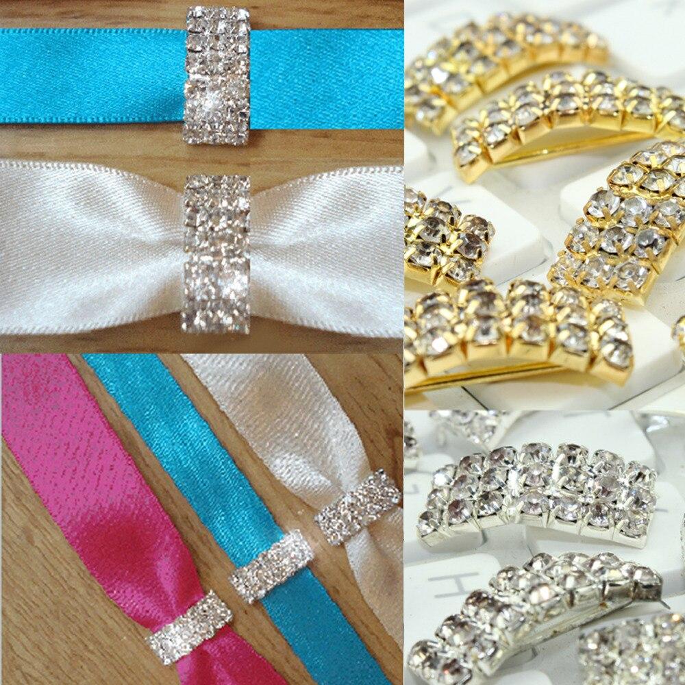 Hair bow button accessories - Glod Rhinestone Bow Button Wedding Decoration Bow Hair Accessories Metal Button Metal Button 30pcs