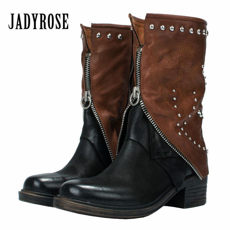 Jady Rose 2018 New Design Women High Boots Rivets Studded Autumn Winter High Boots Female Mid-Calf Platform Rubber Shoes Woman trendy women s mid calf boots with solid color and metal rivets design