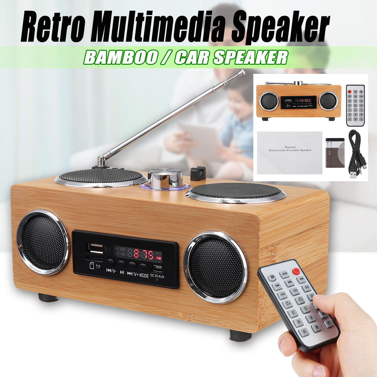 Retro Vintage Radio Super Bass FM Radio Bamboo Multimedia Speaker Classical Receiver USB With MP3 Player Remote Control tivdio v 116 fm mw sw dsp shortwave transistor radio receiver multiband mp3 player sleep timer alarm clock f9206a