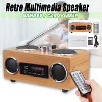 Retro Vintage Radio Super Bass FM Radio Bamboo Multimedia Speaker Classical Receiver USB With MP3 Player Remote Control
