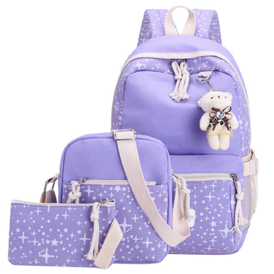 Fashion School Bags Teenage Girls Travel Backpack Kids Princess Large Capacity School Bags 3 Pcs/set Rucksack Schoolbag