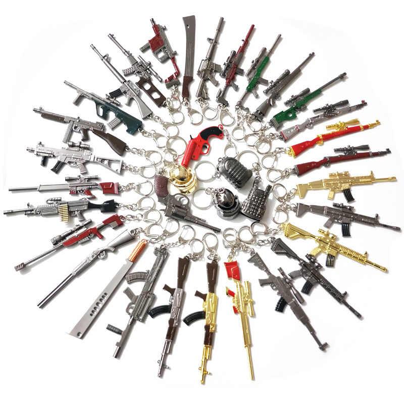 PUBG Keychain סט משחק PLAYERUNKNOWN'S קרב מפתח שרשרת קוספליי תלבושות akm 98k נשק דגם מפתח טבעת קסדת עבור