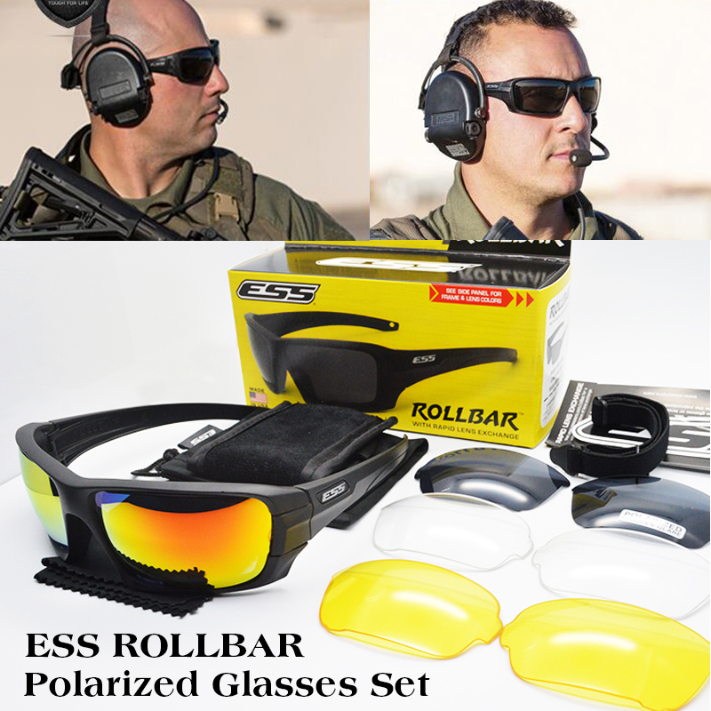 ESS ROLLBAR Polarized font b Tactical b font Sunglasses UV protection Military Glasses TR90 Army Google