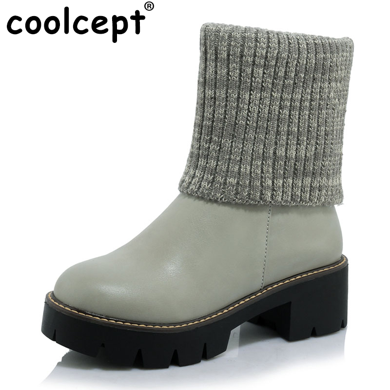 New Fashoin Women Mid Calf Boots Mixed Hand Knit Wool Round Toe Square Heel Woman Shoes Spring Autumn Botas Mujer Size 34-43 double buckle cross straps mid calf boots