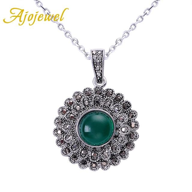 Ajojewel Black Rhinestone Cute Daisy Flower Green Pendant Necklace For Women Thin Chain Necklace Vintage Jewelry 2017