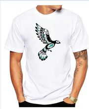 Blue And Black Haida Spirit Flying Bird T Shirt man and woman t shirts T Shirt 100% cotton tops(China)