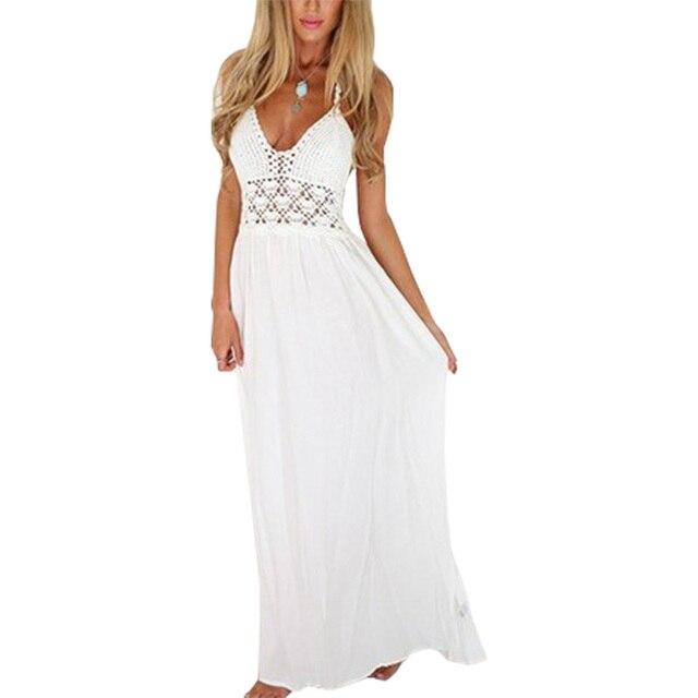 Modelos explosão de verão dress lace costura vestido longo sexy ...