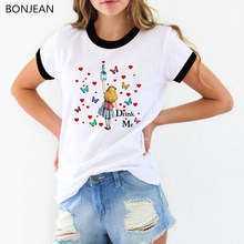 Watercolor Splatter Alice In Wonderland graphic print t shirt women Drink Me letter T-Shirt femme Casual Tops tshirt female(China)