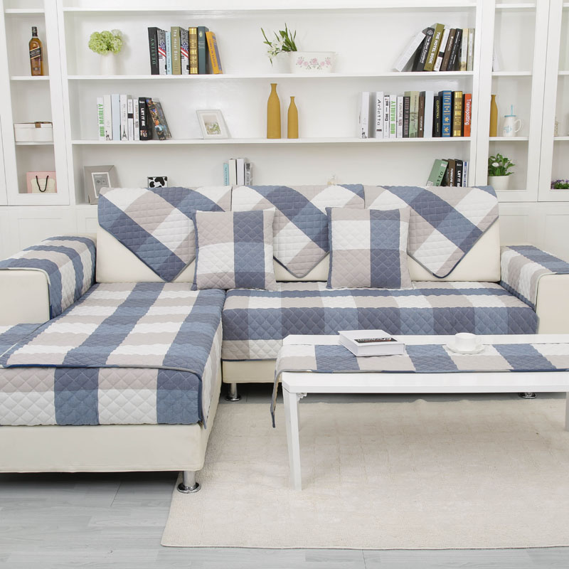 Plaid Sofa Cover Cotton Fabric Multi size Sofa Cover with 6 Colors ...