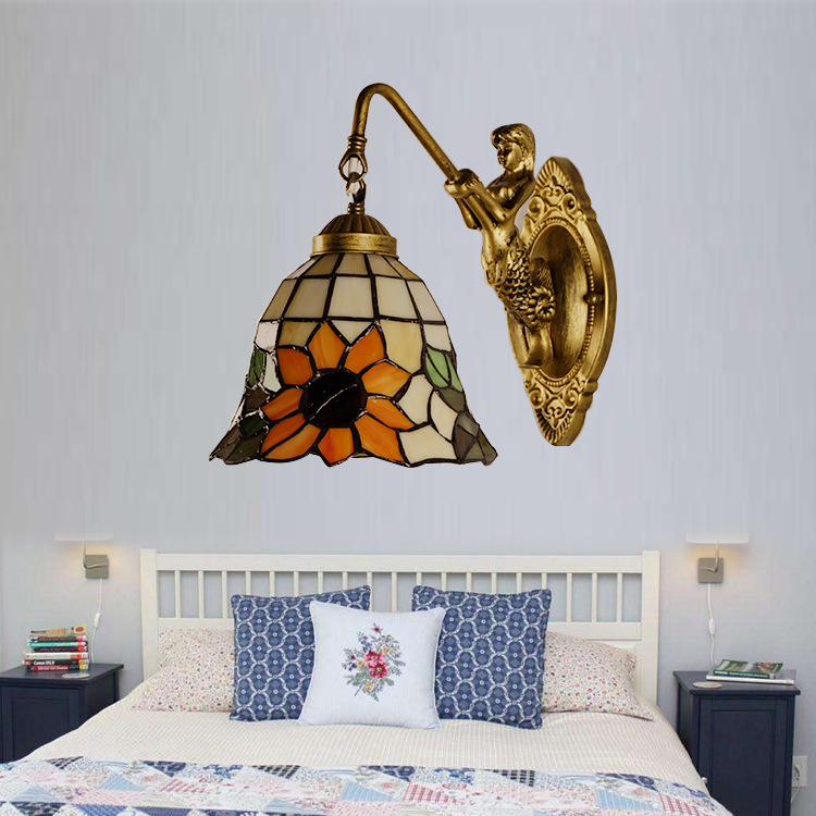 special promotion, European Mermaid wall lamp, Baroque children's room bedside lamp, bedroom bathroom headlamp.