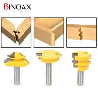 Binoax 3Pcs Set Jointing Router Bit Set Lock Miter Glue Joint Drawer Front 1 2 Shank