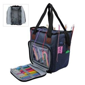 Image 1 - Saco de tricô fio portátil tote saco de armazenamento para lã crochê ganchos agulhas de tricô costura organizador suprimentos diy crochê saco