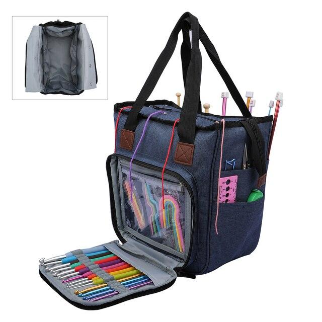 Saco de tricô fio portátil tote saco de armazenamento para lã crochê ganchos agulhas de tricô costura organizador suprimentos diy crochê saco